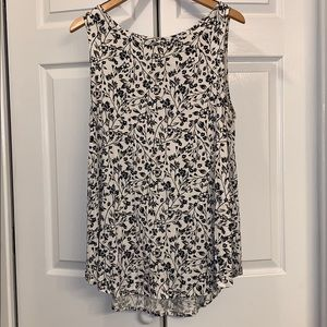 Floral black and white tank